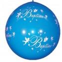 """1 ballon de baudruche """"baptême"""" beu écrit en blanc 80 cm"""