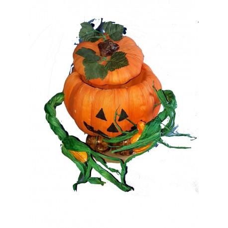 Bonbonnière citrouille, avec des bras et des pieds ... en raphia vert et orange