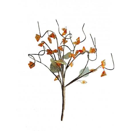 Un bouquet à 10 brins hauteur moyenne 15 centimètres perles tons orange et vertes