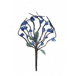 Un bouquet à 10 brins hauteur moyenne déplié 15 centimètres perles tons de bleus