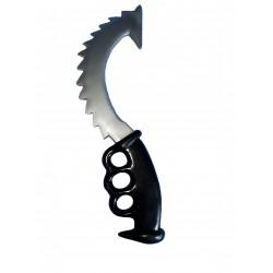 poignard courbé et dentelé avec poignée noire, couteau de pirate Halloween