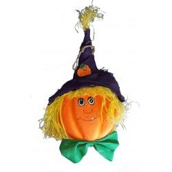 Tête d'épouvantail en forme de citrouille chapeautée en raphia et toile de jute Halloween