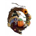 Couronne d'Halloween avec un épouvantail et une citrouille