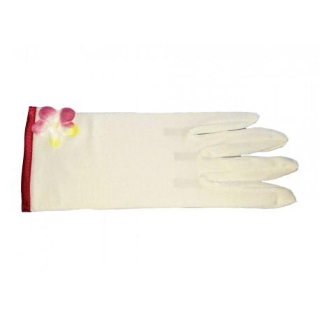 Gants courts ivoire clair mat biais bordeaux sur le poignet 21.5 centimètres