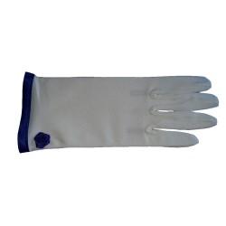 Gants courts ivoire clair biais bleu roi sur le poignet 21.5 centimètres
