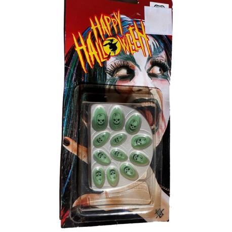 12 faux ongles phosphorescents dessiné d'un crane tête mort déguisement d'Halloween
