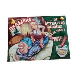 Plaque de porte humoristique et sonore pour la chambre de retraités heureux