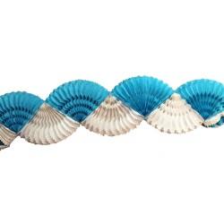 Guirlande éventail bicolore banche et bleu turquoise 3 mètres Supporter