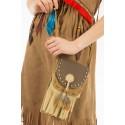Sac médecine amérindien sachet indien bourse pour les herbes imitation cuir retourné frangé