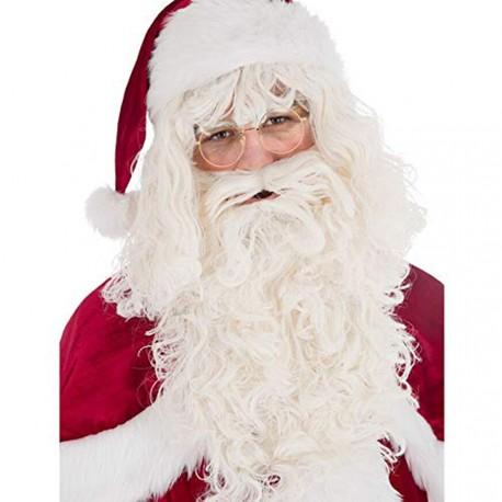 Perruque du Père Noël avec barbe couleur naturelle mat belle qualité