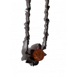 Collier avec pendentif fleur en ambre véritable de la Baltique et argent massif 925°/°°vieilli collection vintage 1990