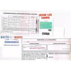 """Carte humoristique avec enveloppe un maxi PV pour """" Sèche les cours"""""""