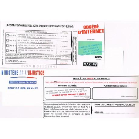 """Carte humoristique avec enveloppe un maxi PV pour """" Obsédé d'internet"""""""