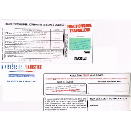 """Carte humoristique avec enveloppe un maxi PV pour """" Fonctionnaire travailleur"""""""
