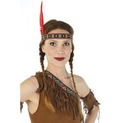 Bandeau d'indien ou indienne avec 1 plume ruban avec des motifs
