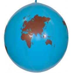 2 ballons motifs mappemondes en latex 80 cm