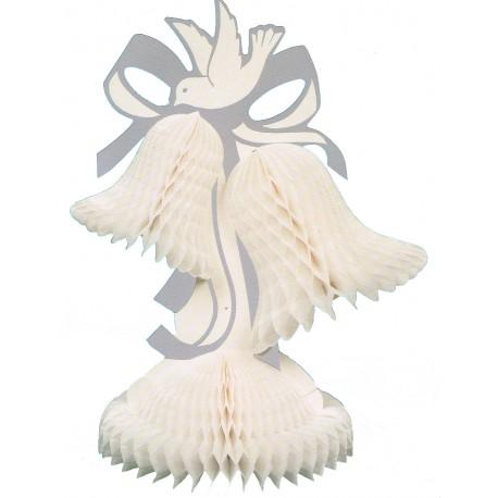 2 carillons blancs en papier alvéolé avec une colombe
