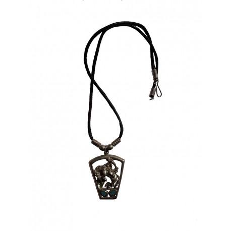 Cow boy en rodéo pendentif de couleur argent vieilli sur cordon noir avec fermoir