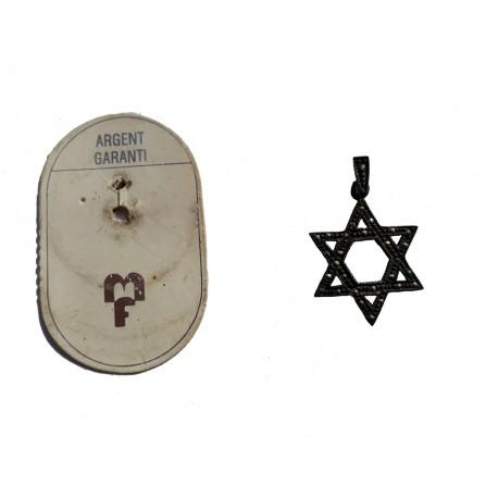 Pendentif en argent massif en forme d'étoile de David avec marcassite