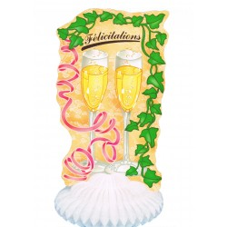 """Décoration """"Félicitations"""" en papier alvéolé 2 flutes à champagne"""