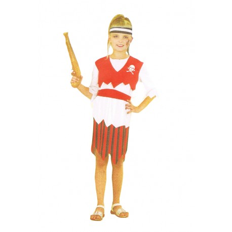 pirate fillette déguisement enfant 4 à 6 ans rouge et noir