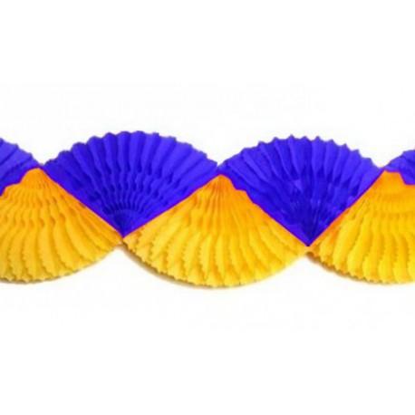 Guirlande éventail bicolore jaune et bleu marine 3 mètres Supporter