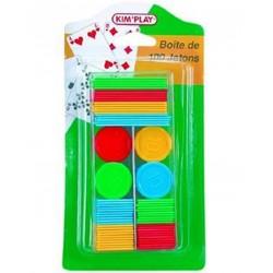 100 jetons colorés Kim'Play dans une boite en plastique transparente