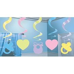5 suspensions avec univer de bébé tétine, bavoir, coeur 60.96 centimètre de long