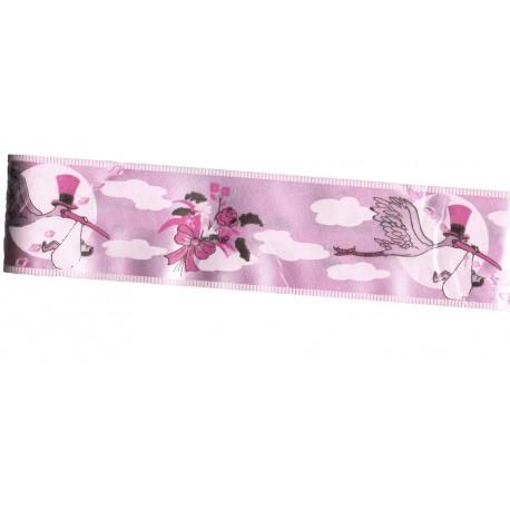 3 nœuds à tirer automatiques rose dragée motifs cigognes et fleur sur bande de 5 centimètres