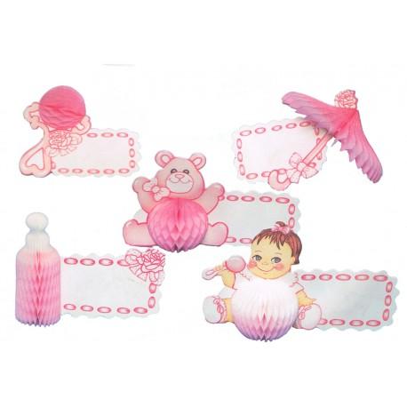 5 Bébé rose porte-nom, marques-place motifs en papier alvéolé hochet, ombrelle, biberon, nounours