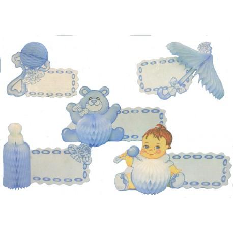 5 Bébé bleu porte-nom, marques-place motifs en papier alvéolé hochet, ombrelle, biberon, nounours