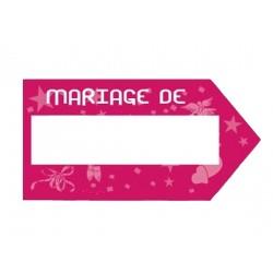 "Flèche rose fuchsia panneau Indicateur pancarte indicatrice ""Mariage de ..."""