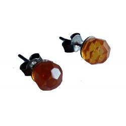 Boucles d'oreilles boule à facettes en Ambre de la Baltique et argent massif 925 °/°° vieilli