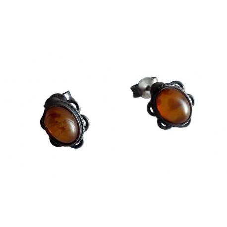 Boucles d'oreilles ovale festoné en Ambre de la Baltique et argent massif 925 °/°° vieilli