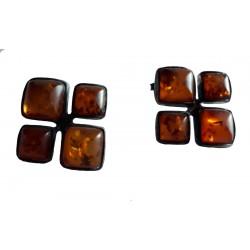 Boucles d'oreilles croix carrée en Ambre de la Baltique et argent massif 925 °/°° vieilli