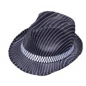 Chapeau borsalino noir rayé de blanc en polyester avec un bandeau noir et blanc
