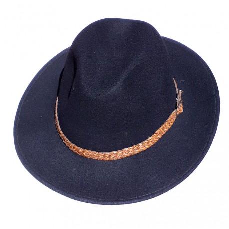 chapeau en feutre noir tour de tête en tresse de cuir marron marque Gottmann taille 60 ou 61