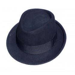 Chapeau en feutre noir tour de tête en gros grain noir forme Trilby taille unique environ 58/59