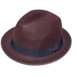 Chapeau en feutre marron tour de tête en gros grain noir forme Trilby taille unique environ 57/58
