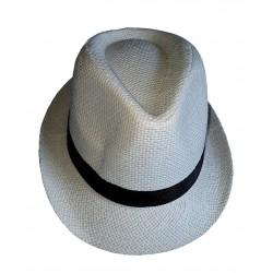 Chapeau blanc cassé forme Trilby bandeau satin noir taille 59 toile large de papier