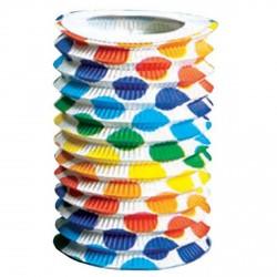 1 lampion cylindrique à pois bariolé à suspendre diamètre 12 centimètres