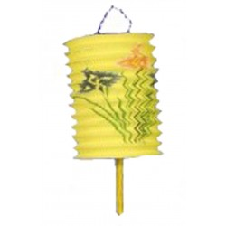 1 lampion chinois rectangle jaune à suspendre diamètre 15.5 centimètres de coté