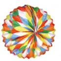 1 lampion sphérique losanges multicolores à suspendre diamètre 21 centimètres