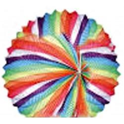 1 lampion sphérique spirales multicolores à suspendre diamètre 21 centimètres