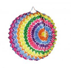1 lampion sphérique vagues multicolores à suspendre diamètre 21 centimètres