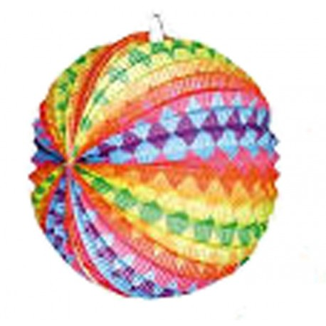 1 lampion sphérique zigzag multicolores à suspendre diamètre 21 centimètres