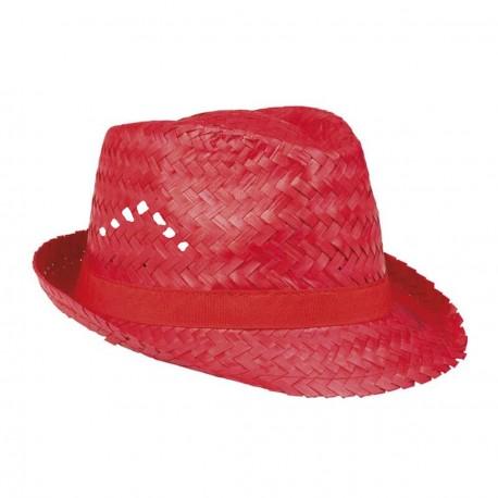 Aruba Chapeau de paille rouge ajouré protection pour le soleil forme borsalino trilby