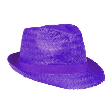 Aruba Chapeau de paille violet protection pour le soleil forme borsalino trilby