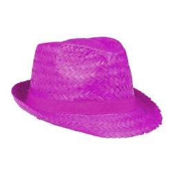 Aruba Chapeau de paille rose fuchsia protection pour le soleil forme borsalino trilby