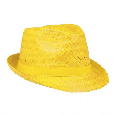 Aruba Chapeau de paille jaune protection pour le soleil forme borsalino trilby